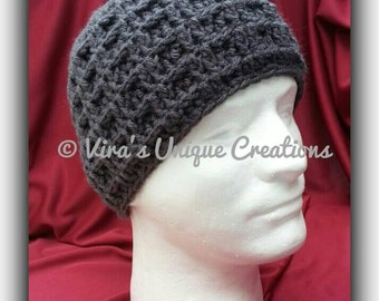 Crochet men waffle beanie hat, crochet men beanie, crochet men hat, crochet hat, crochet beanie, men hat, men beanie, made-to-order