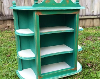 Shabby Chic Cabinet, Curio Cabinet, Teal Cabinet, Shabby Chic Decor, Teal Decor, Ivory Cabinet, Ivory Decor