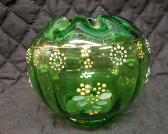 Vintage Green Colored Glass Hand Painted Rose Bowl