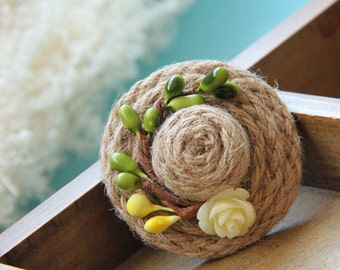 Green straw braided seed tiny hat Brooch clothes bags gloves accessary