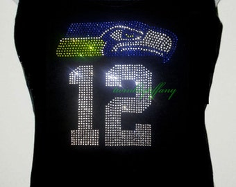 Women's Tank Top Seattle Seahawks 12th man Rhinestones