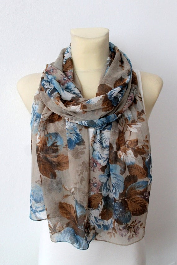 Blue & Brown Floral Scarf - Women Fashion Accessories - Unique Fabric Scarf - Gift Idea for Her - Printed Boho Scarf - Spring Trends