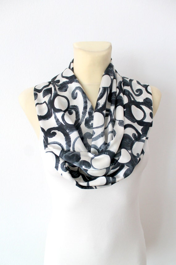 Geometric Infinity Scarf Unique Fashion Scarf Infinity Scarves Gift for Her Gift Womens Celebrations Christmas Autumn Spring Fall Winter