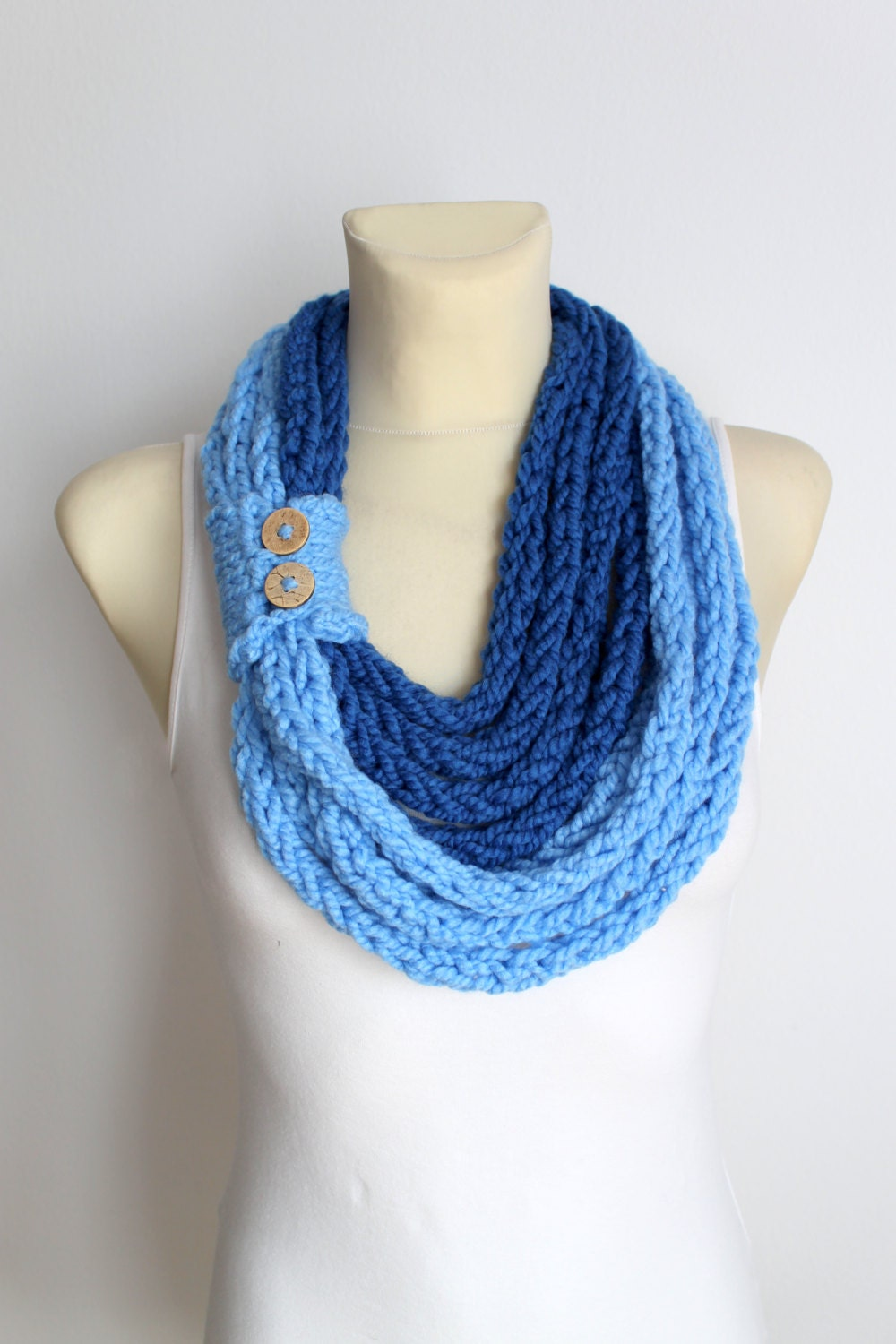 sale knit scarf blue knitted scarf circle by locotrends
