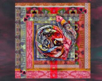 Little Heart Foulard,  100% Habotai Silk, 102cm x 102cm