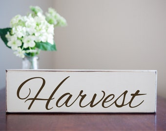 Harvest - Antique Wooden Sign Small Home Decor Fall Autumn Thanksgiving Holiday