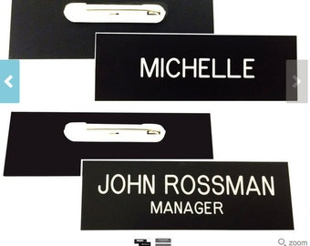 1 x 3 Black Name Badge with White Letters with Pin