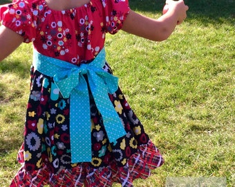 Girls Red and Black Peasant Dress, with Turquoise Sash