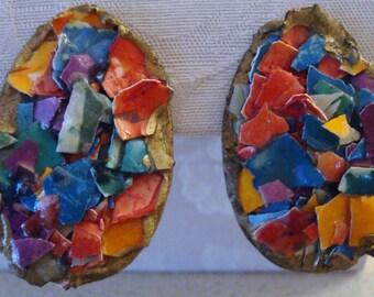 Vintage Artisan Painted Egg Shell Mosaic Multicolor Earrings