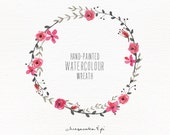 Watercolor wreath: painted floral wreath clipart / commercial use / Wedding invitation clip art / wedding floral wreath / pink / CM0059c
