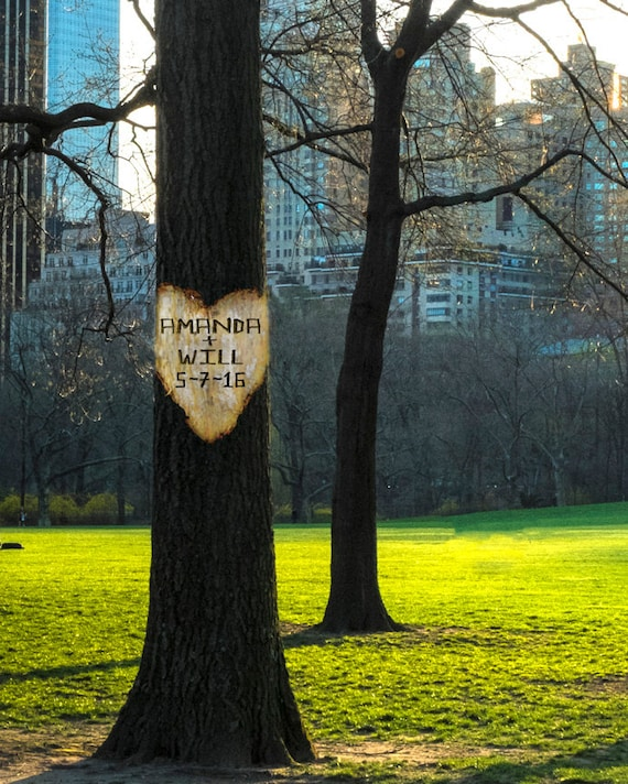 Unique Wedding Gifts Nyc : Personalized Wedding Gift Central Park New York Nyc Tree Heart ...