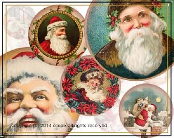 Vintage Father Christmas 20mm circles 0183