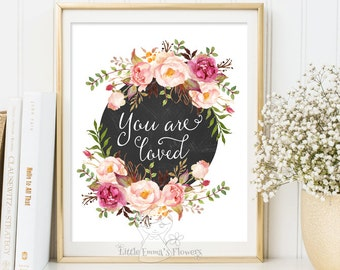 Printable Nursery decor You are loved print  nursery wall print kids wall art birthday gift nursery print  INSTANT DOWNLOAD 149