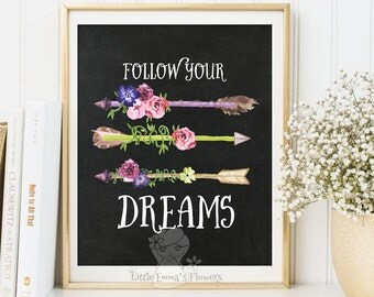 inspirational quote Kids Wall Art printable Nursery quote Follow your dreams print nursery print decor quote art nursery wall decor  173