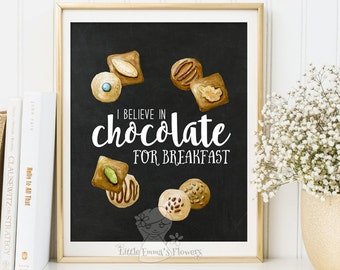 Chocolate print kitchen art decor retro kitchen poster chocolate poster home decor printable art Chalkboard print decor Instant download 173