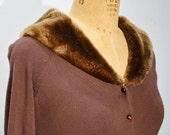 1950s Brown Faux Fur Collar Cardigan