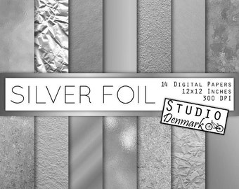 Silver Foil Digital Paper - Silver Foil Textures - Textured and Shiny Metallic - Commercial Use Glitter Backgrounds - Instant Download