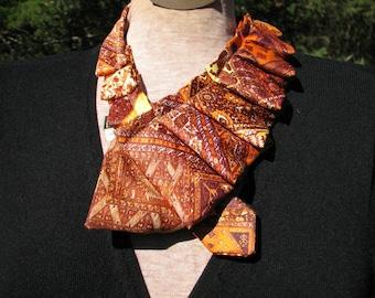 Pleated Necktie Ascot - Silk Necktie Accessory - Ruffled Scarf - Edwardian Style Cravatte