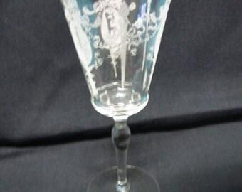 Morgantown Glass Sunrise Medallion Water Goblet 7630 Crystal