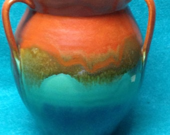 "Stangl Pottery Sunburst Rainbow Jardiniere 7"" 1765L Three Handled"