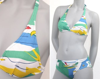 vintage bikini 70s size S retro colorful swimsuit nautical tropical