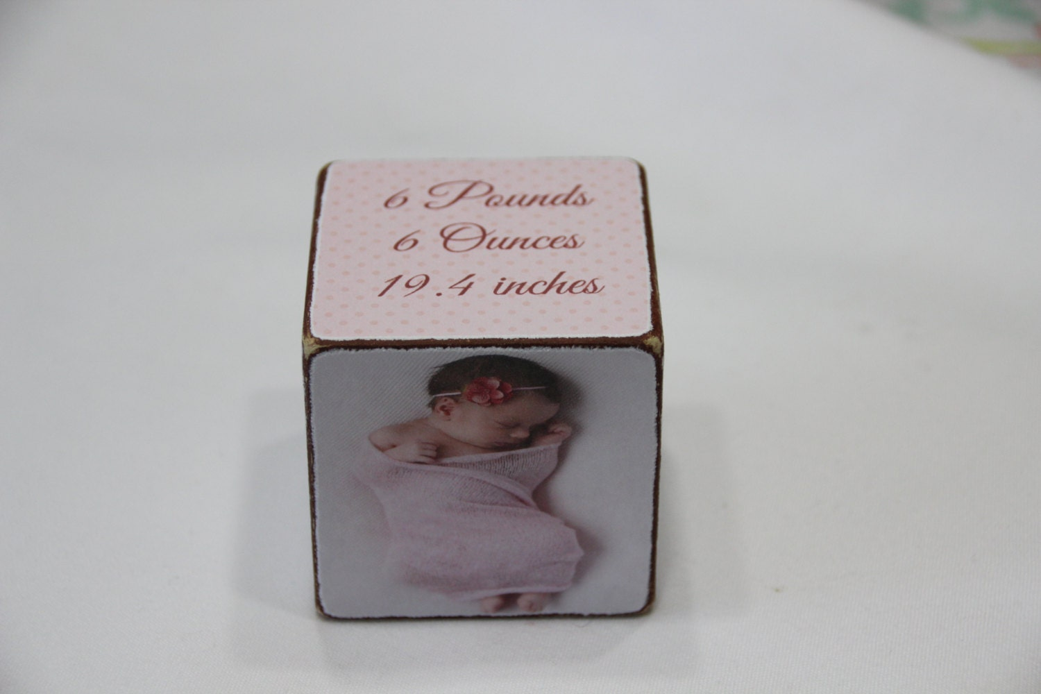 Baby Annuncement Wooden Block .Baby Girl Pictures Block.