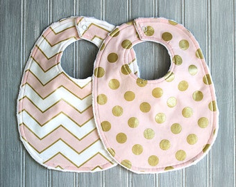 Baby Bib Set- Light Pink and Gold Bib Set - Set of 2 Metallic Gold Baby Bibs - Baby Girl Bibs - Girl Bib - Gold Bibs - Metallic Baby Bibs