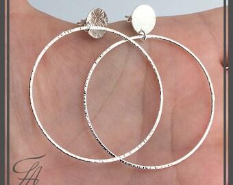 Large Hoop Stud Earrings, Handmade Large Circle Earrings, Big Circle Earrings, Handmade Jewelry, Minimalist Jewelry, Dangle earrings