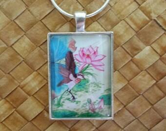 Lotus and  bird rectangle  glass pendant & snake chain.