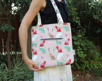 Every day NuNo tote bag. Turquoise cats bag. Tote bag. Medium tote bag. Shoulder bag. Medium bag. Vegan tote bag.