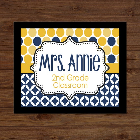 Navy Classroom Decor ~ Polka dot teacher sign navy gold back to by