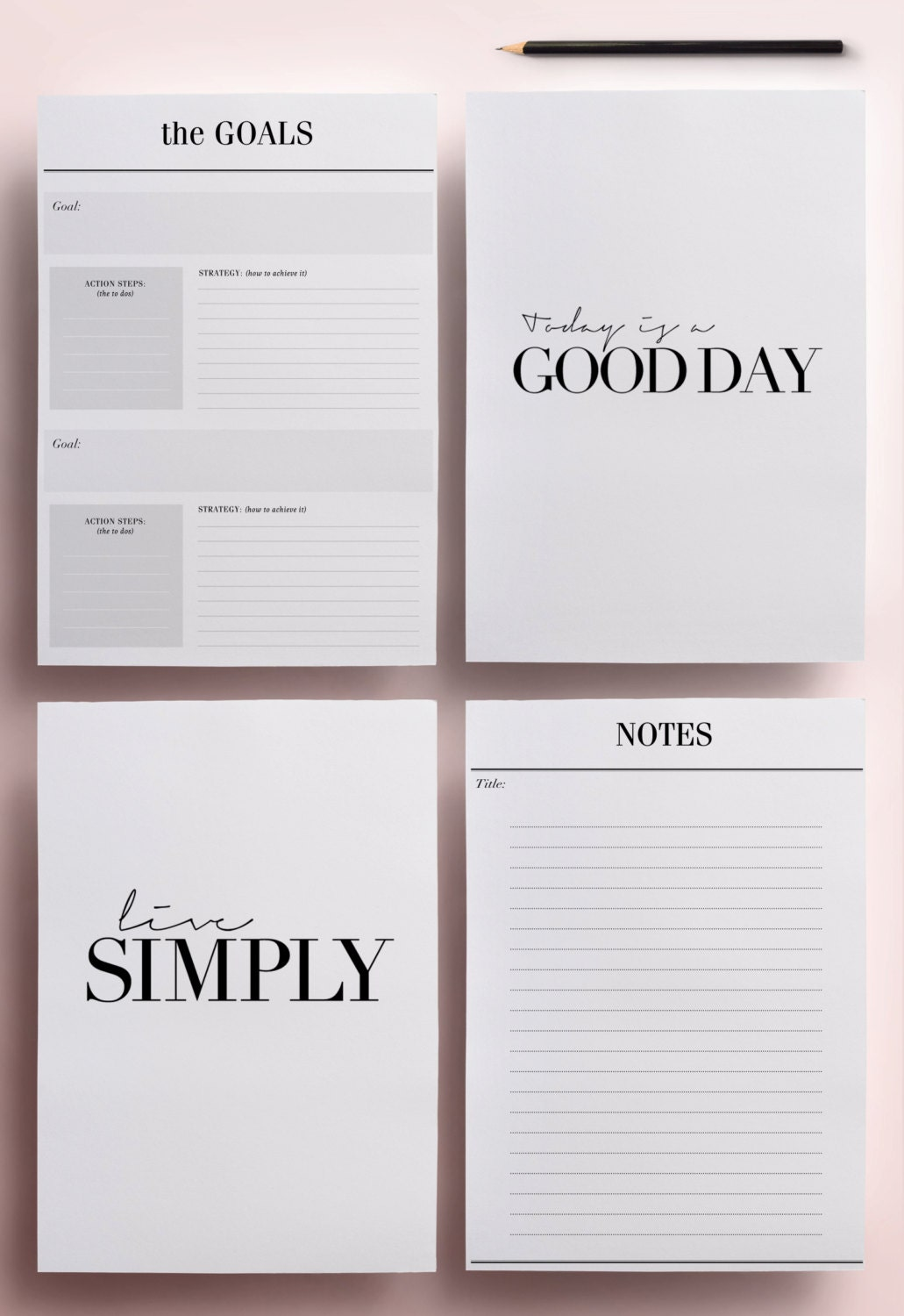 Minimal Planner A4 Agenda Inserts 12 Printable Planners: