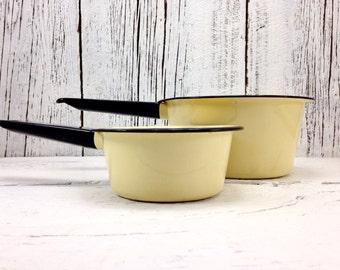 Vintage Yellow Enamel Pots with Black Rim and Handle | Set of 2 Rustic Kitchen Pots