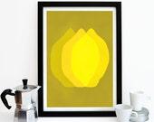 Lemon Kitchen Art, Kitchen Print Poster, Citrus Fruit, Fruit Print, Sunshine Yellow, Housewarming Gift, Lemon Decor, Mothers Day Gift