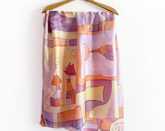 Hand painted sarong, pareo, wrap. Big shawl with comic cats, in yellow, orange and lilac. Silk scarf appropriate for swimsuit cover up .