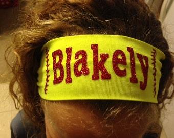 """2.5"""" Personalized GLITTER Softball Headband"""