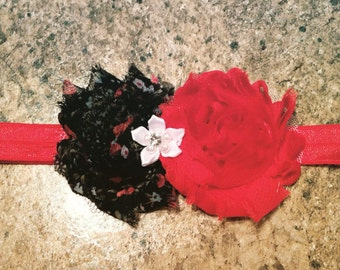 Red and black floral headband