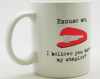 Office Space red stapler coffee mug