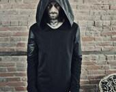 Longsleeve Doomlord Hooded Top / Faux Leather Detail, Men's