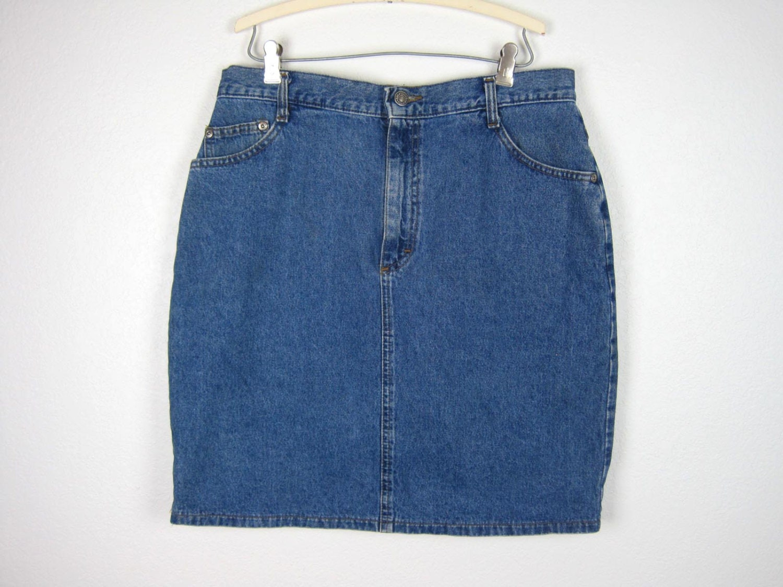 vintage denim mini skirt size 14 large by