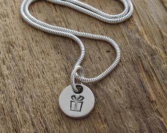 Silver Present Pendant - Fine Silver Gift Necklace - Silver Gift Charm - Gift Charm Necklace - Gift Charm Pendant - Sterling Silver Necklace