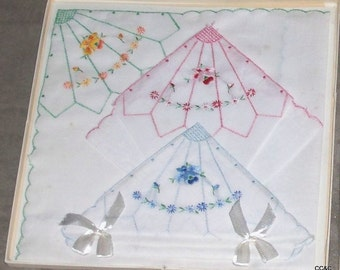 Old Embroidered Handkerchiefs in original box