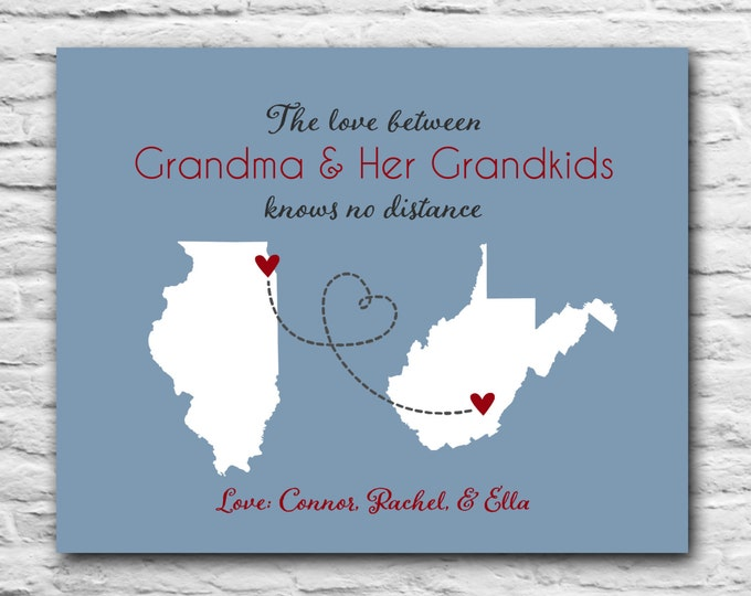 Personalized Gift for Grandma - Christmas Gift Ideas for Grandma, 8x10 Custom Art, Mothers Day Gift Idea from Grandchildren, Oma Nana MaMa