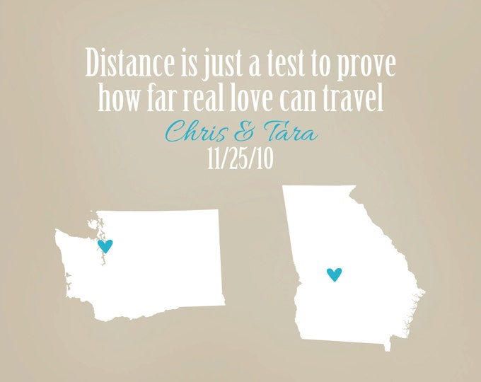 Distance means so little when someone means so much, Custom Best Friend Going Away Gift, Popular Friend Gift, 8x10 Personalized Maps, Sister