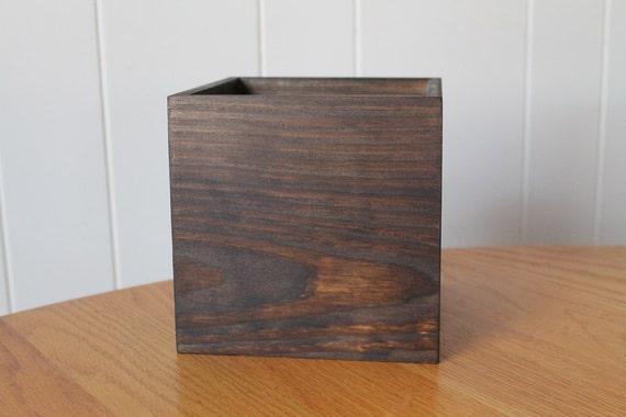 Wooden box dark brown x wedding centerpiece flower