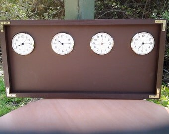 The Original Time Zone Chalkboard  Clock, With A Coffee Chalkboard,  Expresso Colored Frame, 3 Or 4 Clocks.