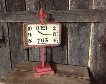 301 - REDUCED-Clock -Wrought Iron -Fleur De Lis - Photo Prop -Pedestal -Shabby Chic Retro- Decorative Only- Red -Distressed