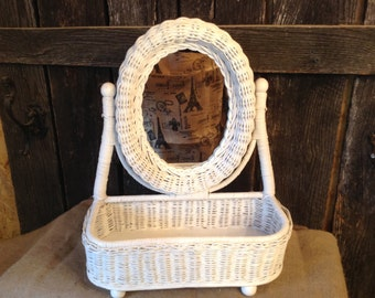 92 - Wicker - Mirror- Vanity -Dresser Caddy - Chic - Wedding - White