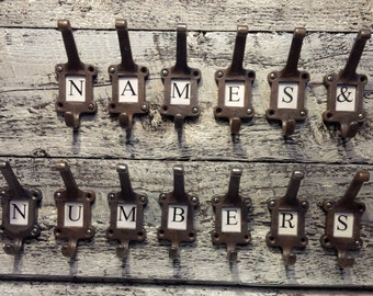 "10 x ""Old School"" Label frame Hat and Coat Hooks (with any Letters A - Z..or Numbers)"
