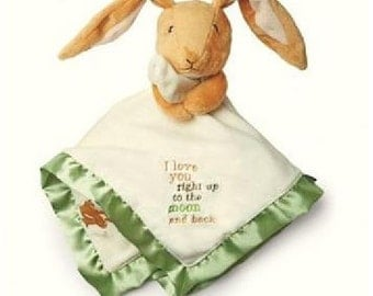 "Easter Bunny Guess How Much I Love You"" Bunny Security Blanket Blanky - Personalized"